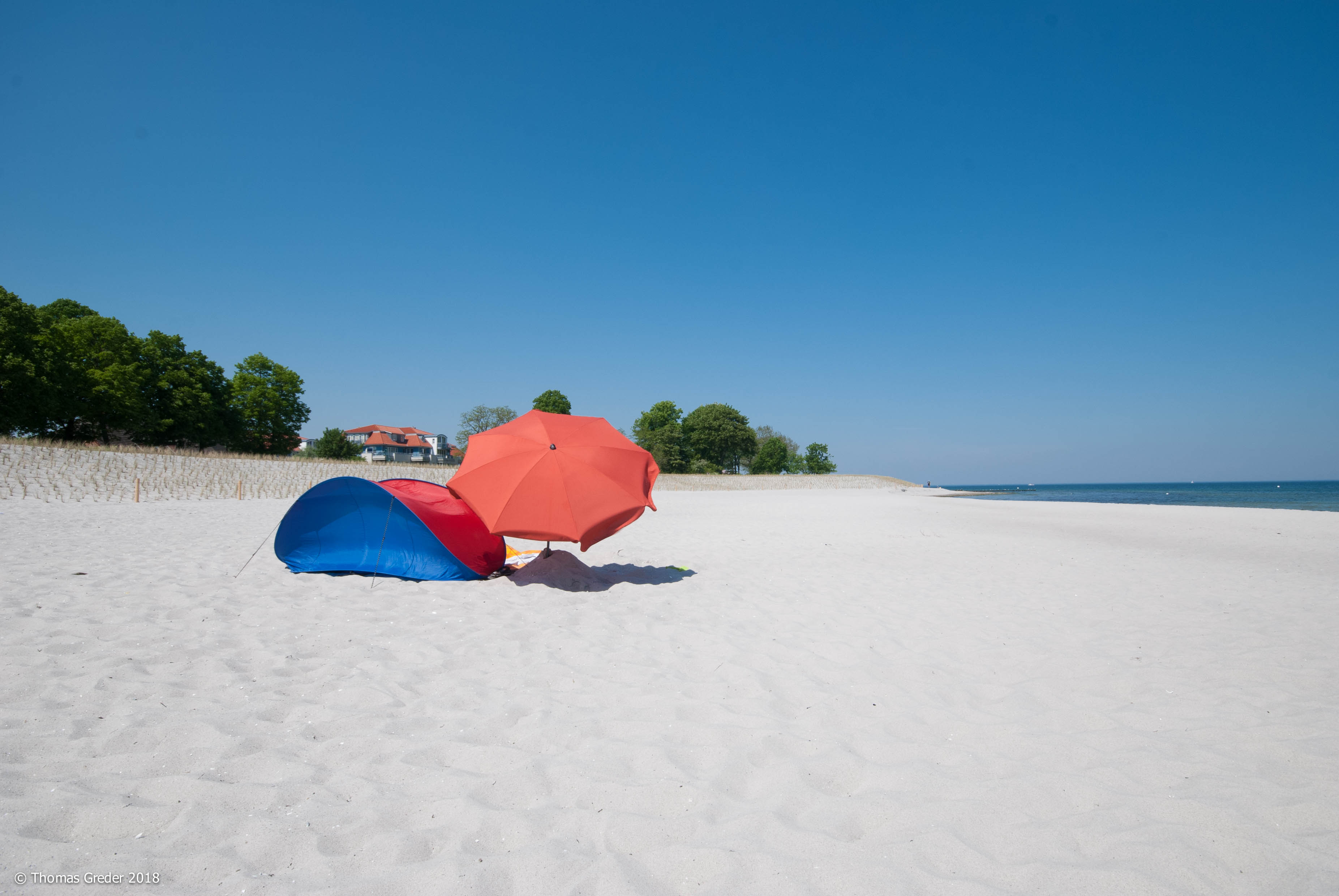 Muschel und Sonnenschirm am Strand